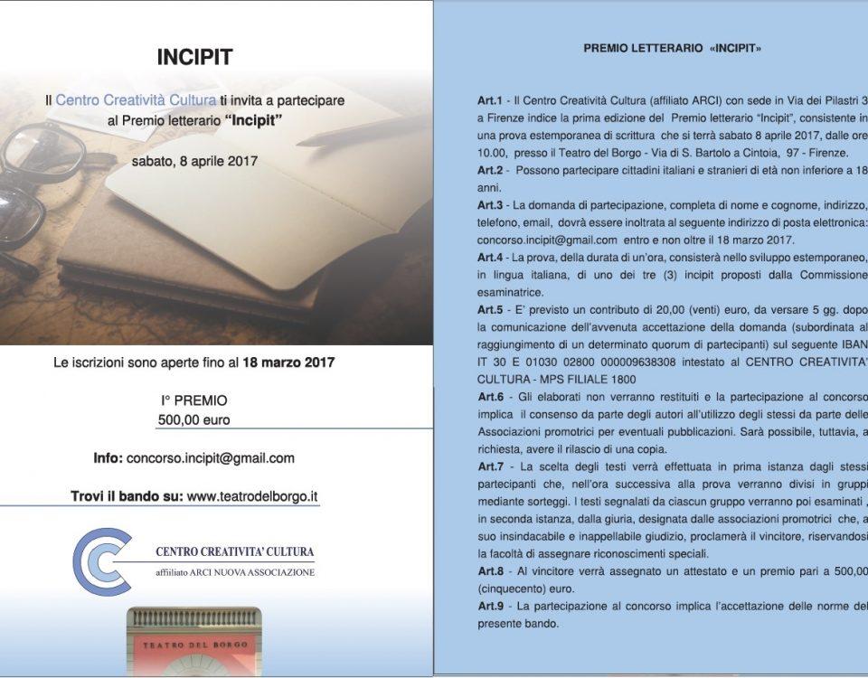 Incipit premio letterario Teatro del Borgo